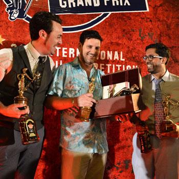 Havana Club International Cocktail Grand Prix finalists Chris Hysted, Julien Escot and Ryan Chetiyawardana