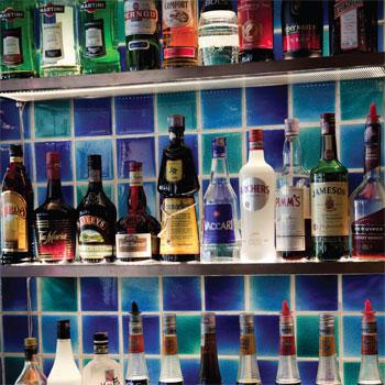 Spirits on a back bar shelf