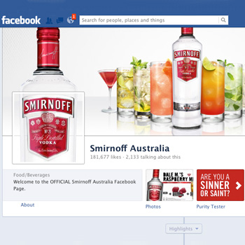Advertising on Smirnoff's Facebook page