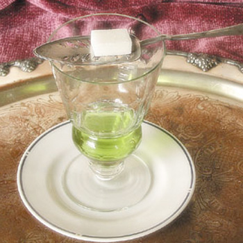 Absinthe glass spoon and sugar