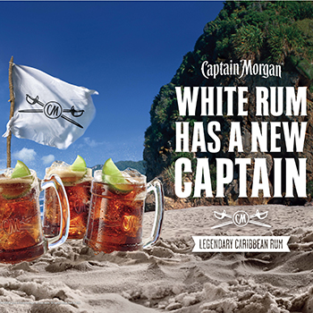 Diageo has seeming taken aim at Bacardi in a new UK ad campaign for its Captain Morgan White Rum