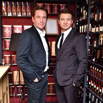 Rémy Cointreau CEO Eric Vallat (left) and One Life/Live Them ambassador Jeremy Renner as One LIfe/Live Them launches