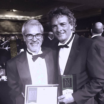 Jeremy Roberts and Tim Bacon (right) at MEN Business Awards 2015
