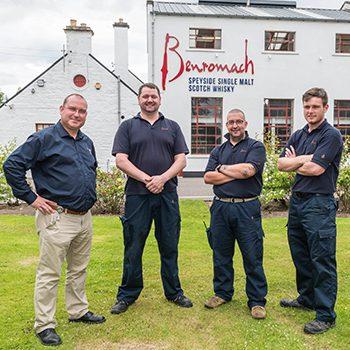 Murdo Mackenzie, right, with the Benromach distilling team