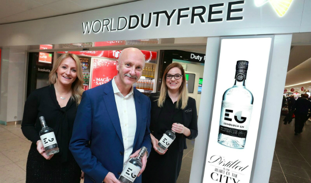 (L-R) Louise Bishop, retail performance manager at Edinburgh Airport; Andy Lane, travel retail director at Ian Macleod Distillers and Claire Branagan, World Duty Free trading manager at the Edinburgh Airport store