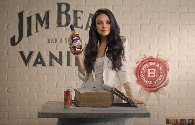 Mila Kunis promoting the brand's vanilla-flavoured Bourbon