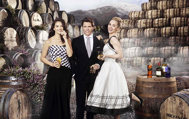 (From left to right) Shanina Shaik, James Marsden and Suki Waterhouse at the Diageo Cambus Cooperage in Scotland