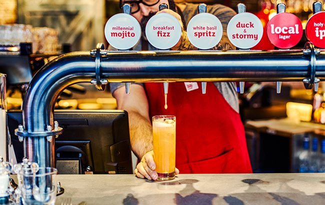 Duck & Waffle Local in London has a number of cocktails on tap