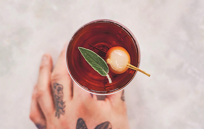 The Caramelised Red Onion Manhattan features on the Drink Your Greens menu