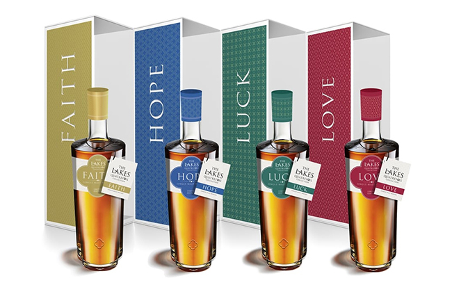 The Lakes Single Malt Quatrefoil Collection comprises Faith, Hope, Luck and Love