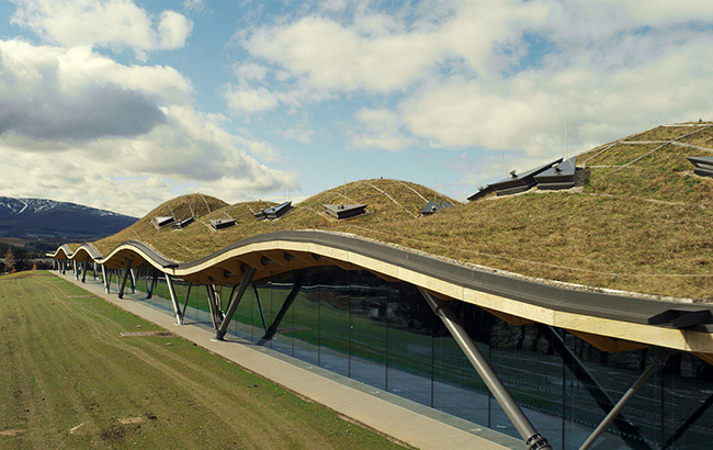 The roof on The Macallan's new distillery emulates the rolling hills of Speyside
