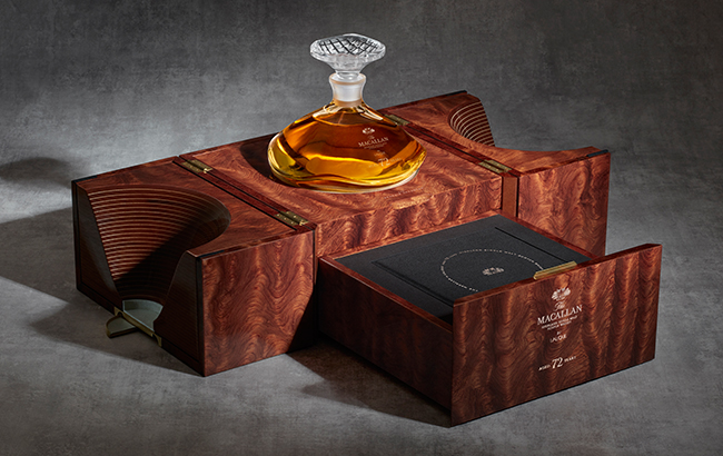 The Macallan 72 Years Old in Lalique takes design cues from the new distillery and visitor centre