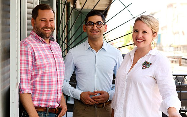 L-R: Neal Bodenheimer and Gary Solomon Jr with executive director Caroline Nabors Rosen