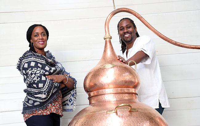 Matugga Distillers CEO Jacine Rutasikwa and master distiller Paul Rutasikwa