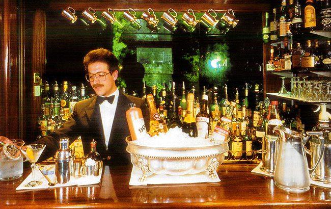 Calabrese tending bar at Dukes