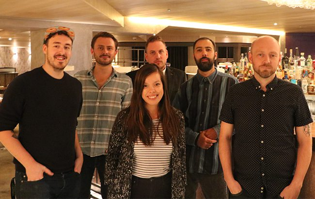 Lr: Josh Powell, Ben Lindsay, Massimiliano Bosio, Dmitry Mishin and Ben Manchester, with Melita Kiely at the front