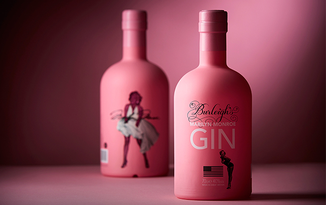 Marilyn Monroe Pink Gin features the iconic image of the American actress in a white dress