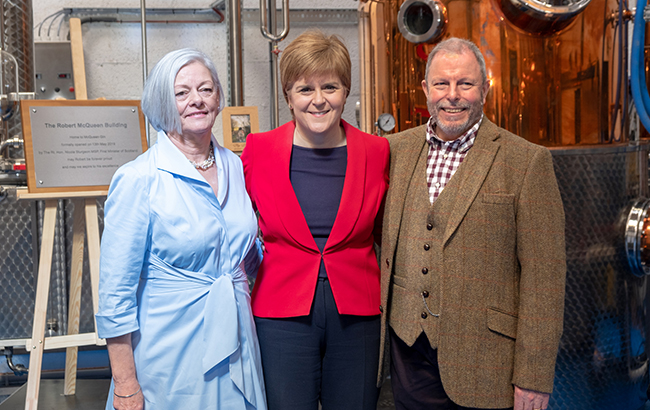 L-r: Vicky McQueen, Nicola Sturgeon and Dale McQueen at the opening of the McQueen Gin Distillery