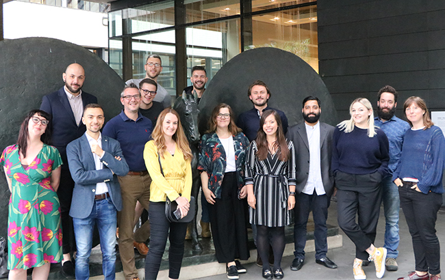 L­-r: Bernadette Pamplin, Antim Solakov, Riccardo Lupacchini, John Vine, David Miller, Lewis Hayes, Amy Hopkins, Rui Tavares, Elise Craft, Ben Lindsay, Melita Kiely, MD Imran, Claire Best, Toby Sims and Hannah Lanfear