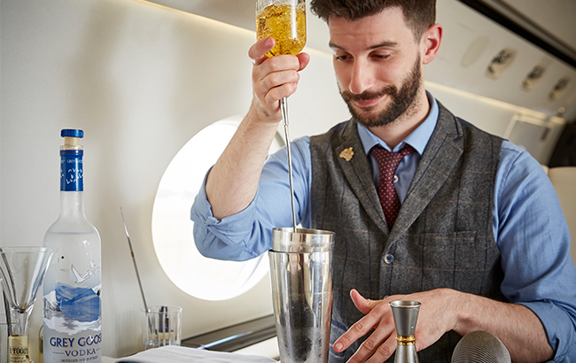Matteo Carretta, of Mr Fogg's, created a cocktail for 365 Aviation