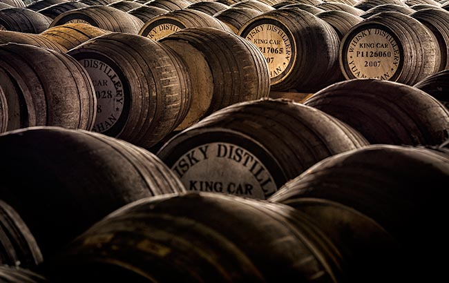 Kavalan whisky maturing in barrels