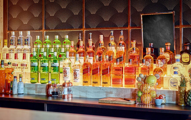 Diageo spirits on back bar