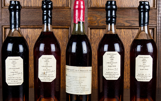 The five rare Cognacs were part of Jacques Hardy's private collection