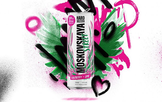 The Raspberry and Lime hard seltzer is made using Moskovskaya Pink Vodka