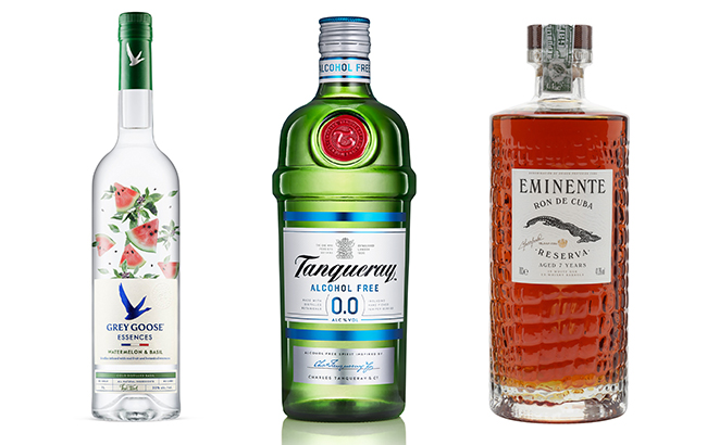 non-alcoholic Tanqueray and botanical-infused Grey Goose