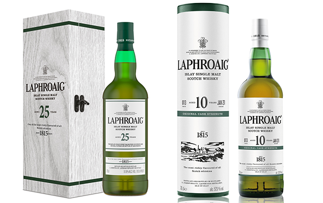 Laphroaig 10- and 25-year-old whiskies from batch 13